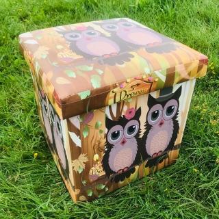 Taburet cutie de depozitare Bufnite