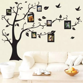 Sticker decorativ copac cu rame foto